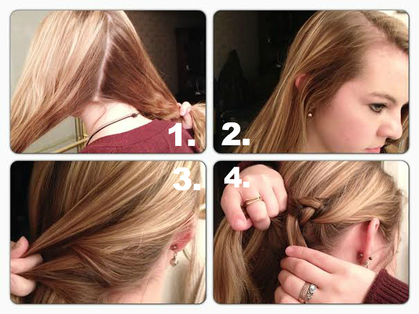 1 Start With A Deep Part On The Top Of Your Head Make Another Onto Back So That Opposite Side Has More Hair Than