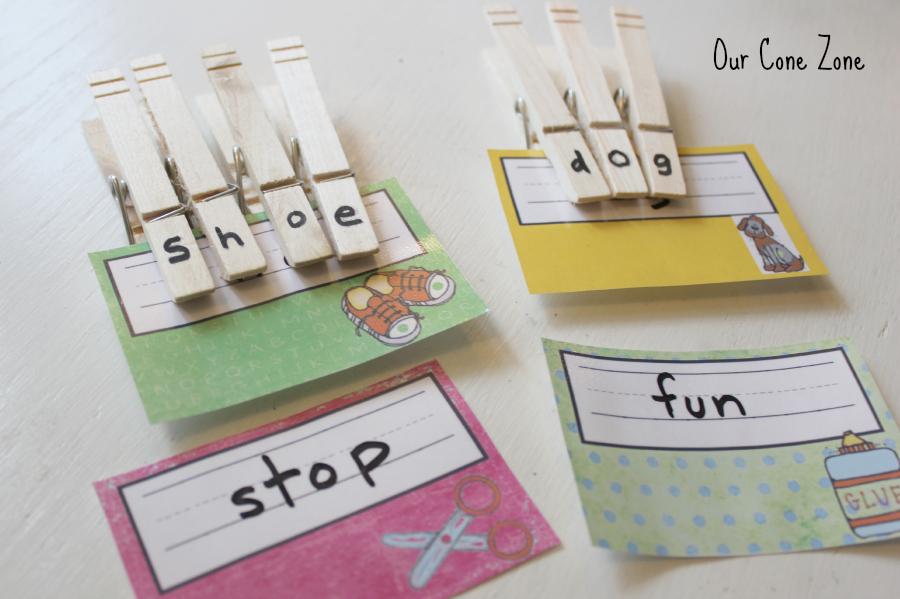 Preschool at Home Week 1 clothespin tags