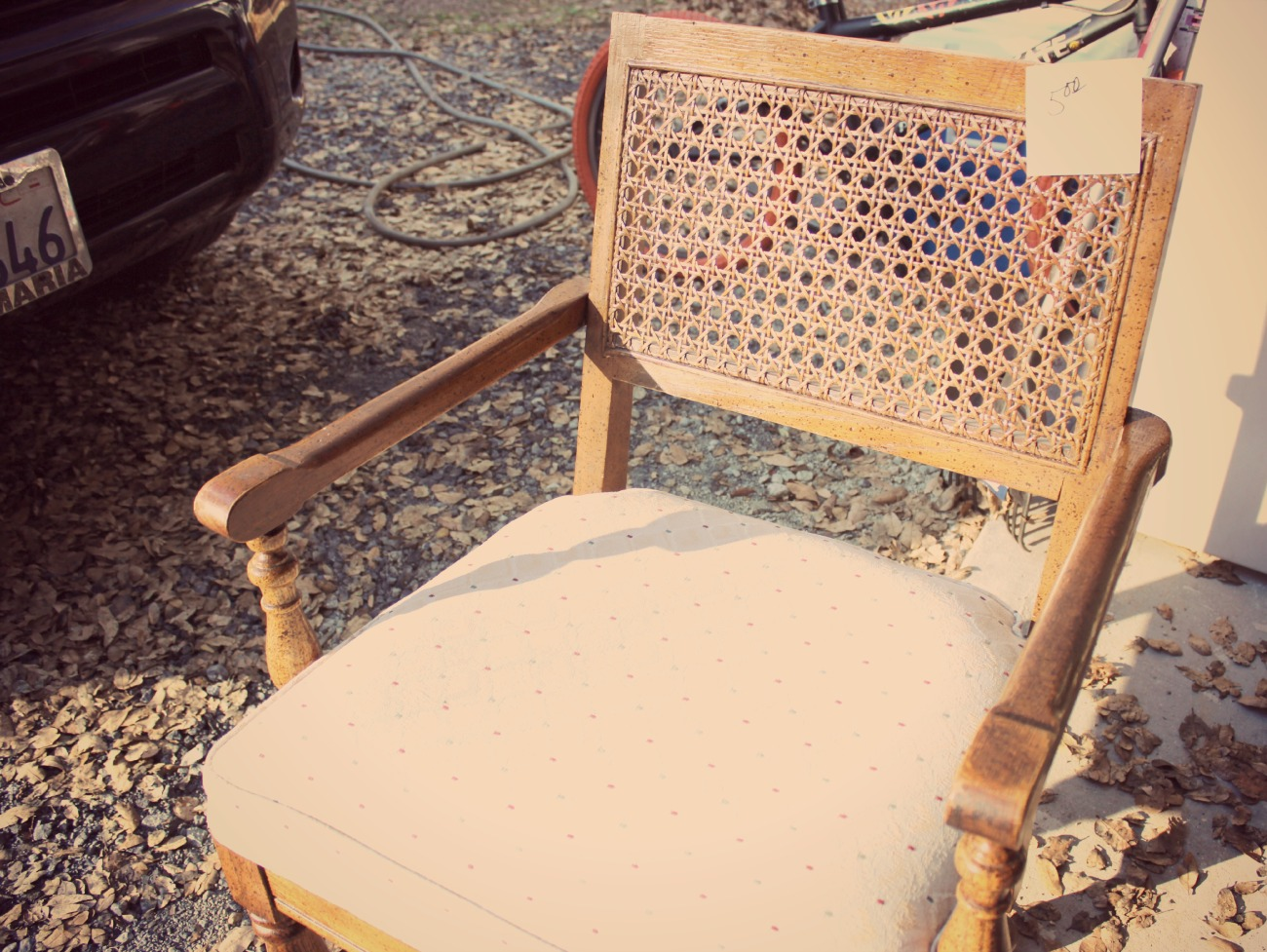 Thrift Store finds wicker cane chair