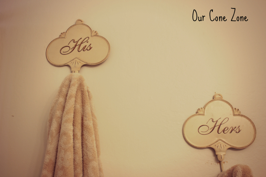 Upstairs Bathroom His and Hers antique towel holders