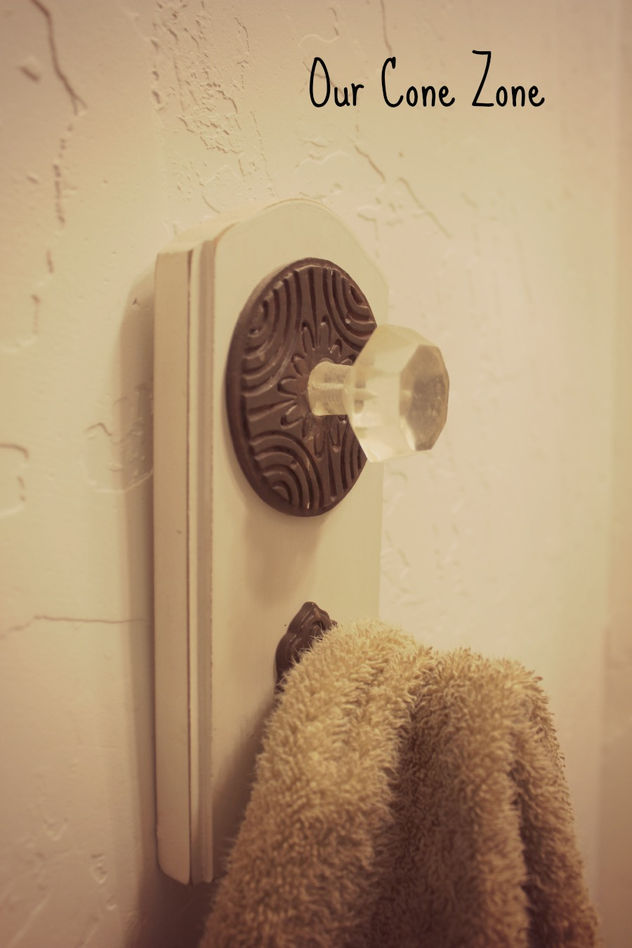 Upstairs Bathroom doorknob for towel