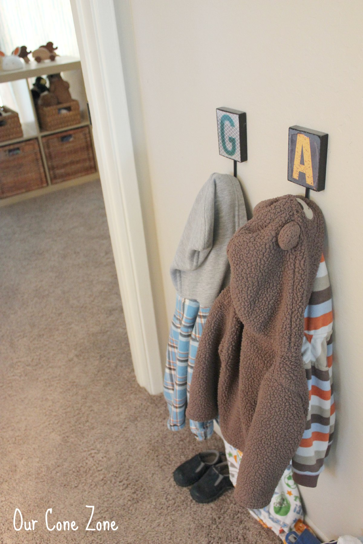 Boys Room coat hooks with initials