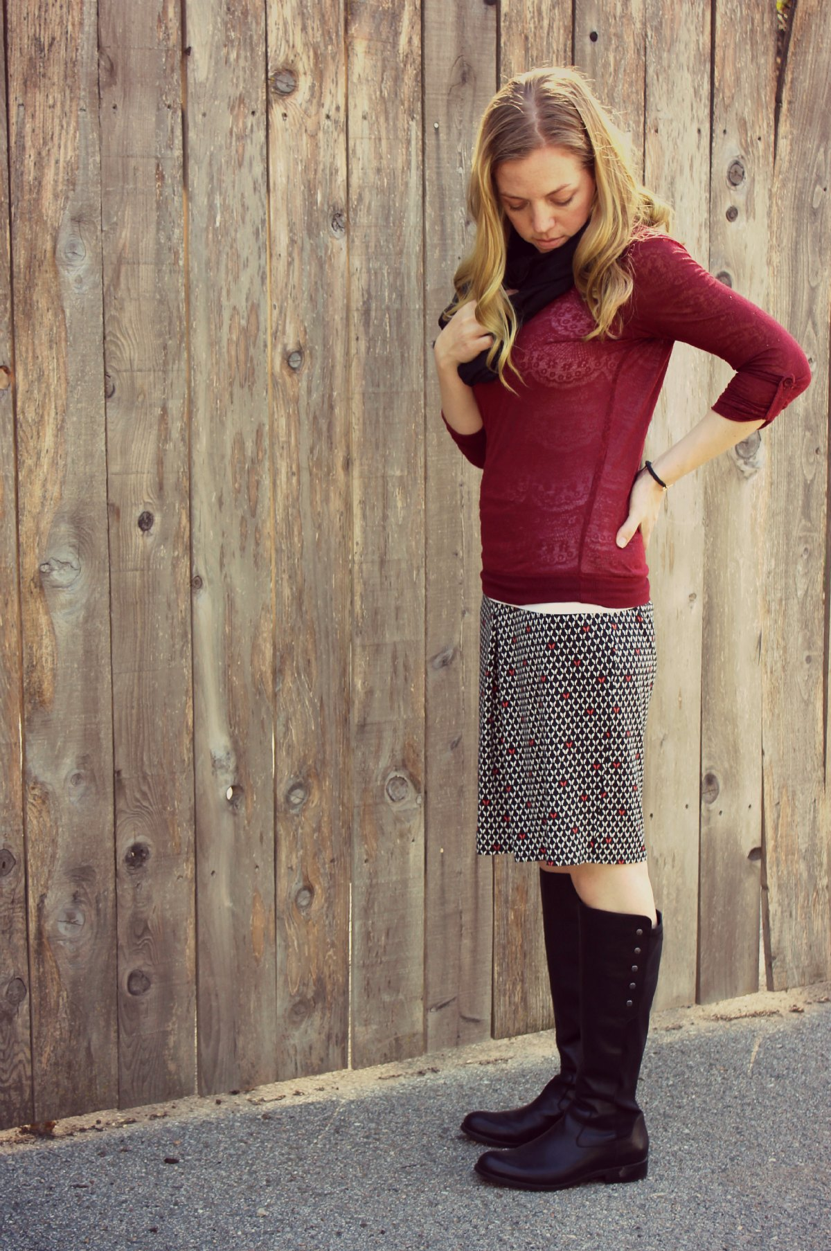 What I Wore Skirt and Boots Modest 1