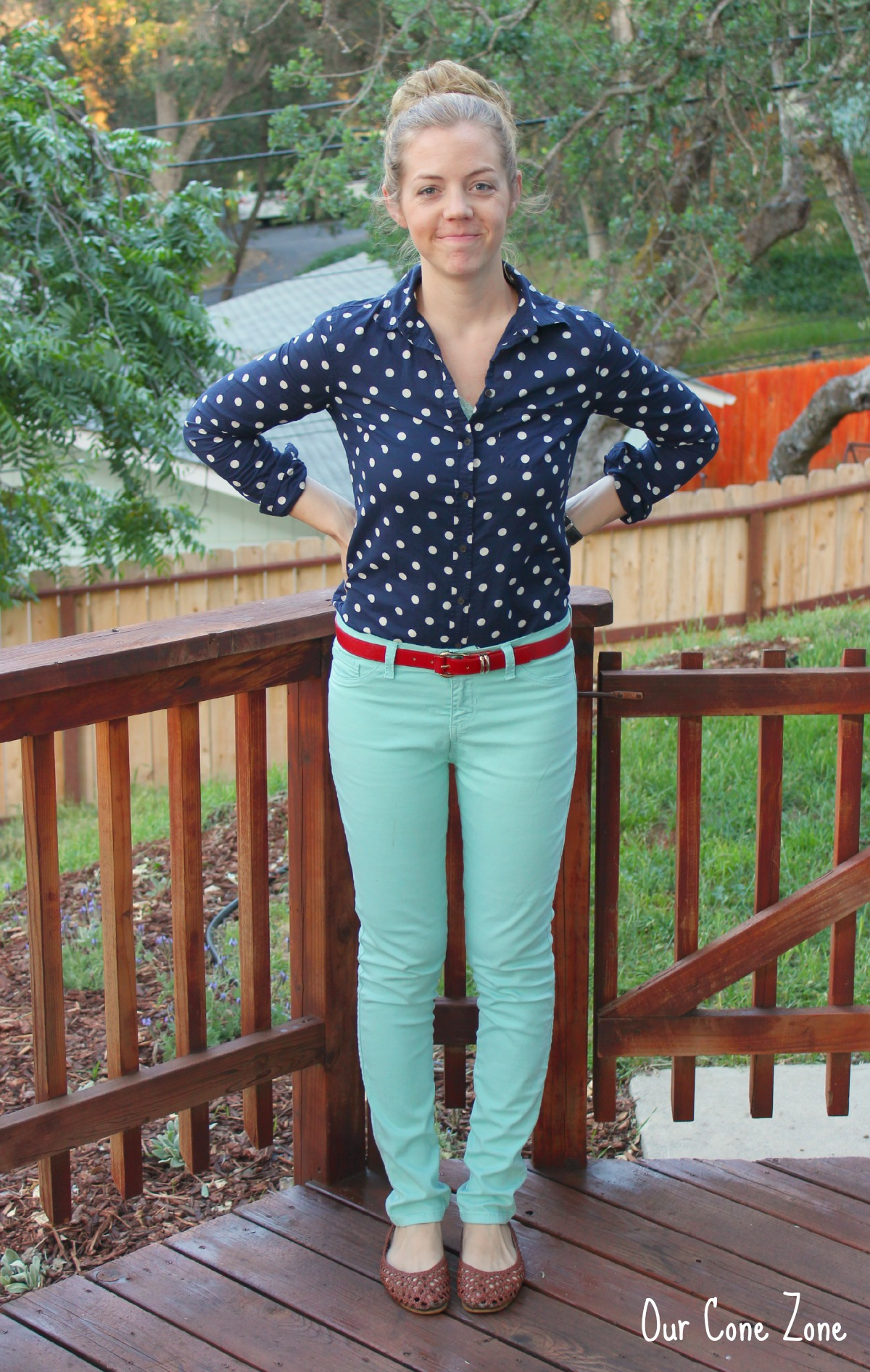 What I Wore Wednesday Navy Polka Dots Our Cone Zone