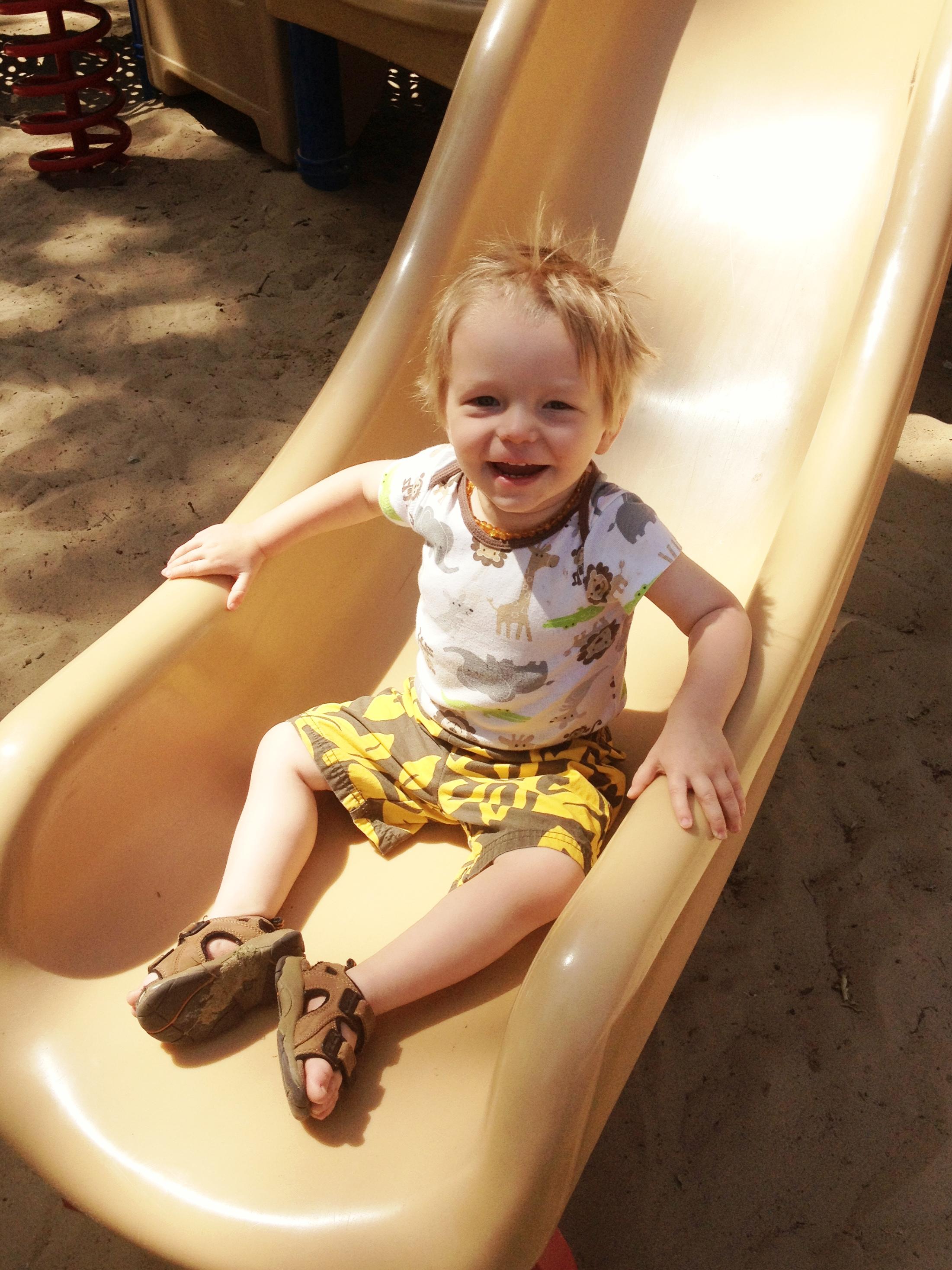 AJ playground smiling