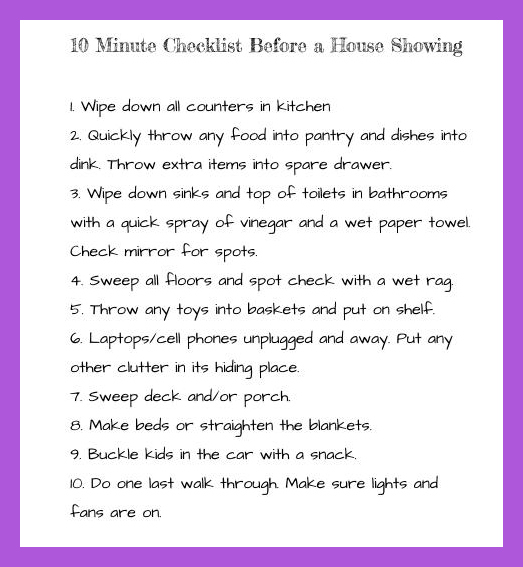 Checklist Before a House Showing