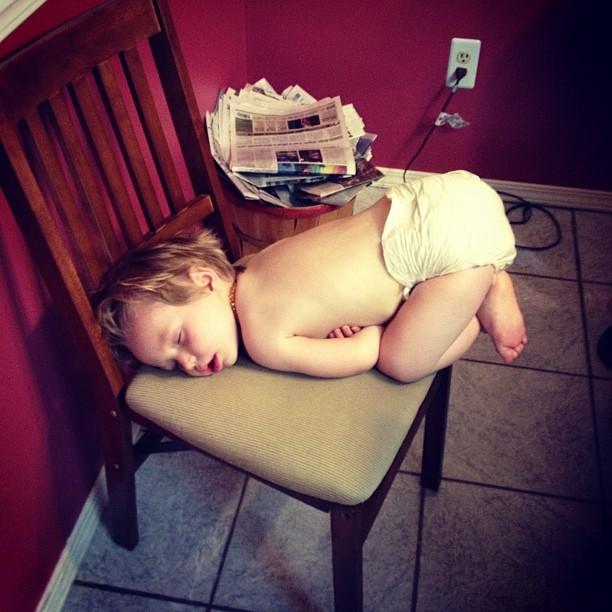 AJ asleep on chair