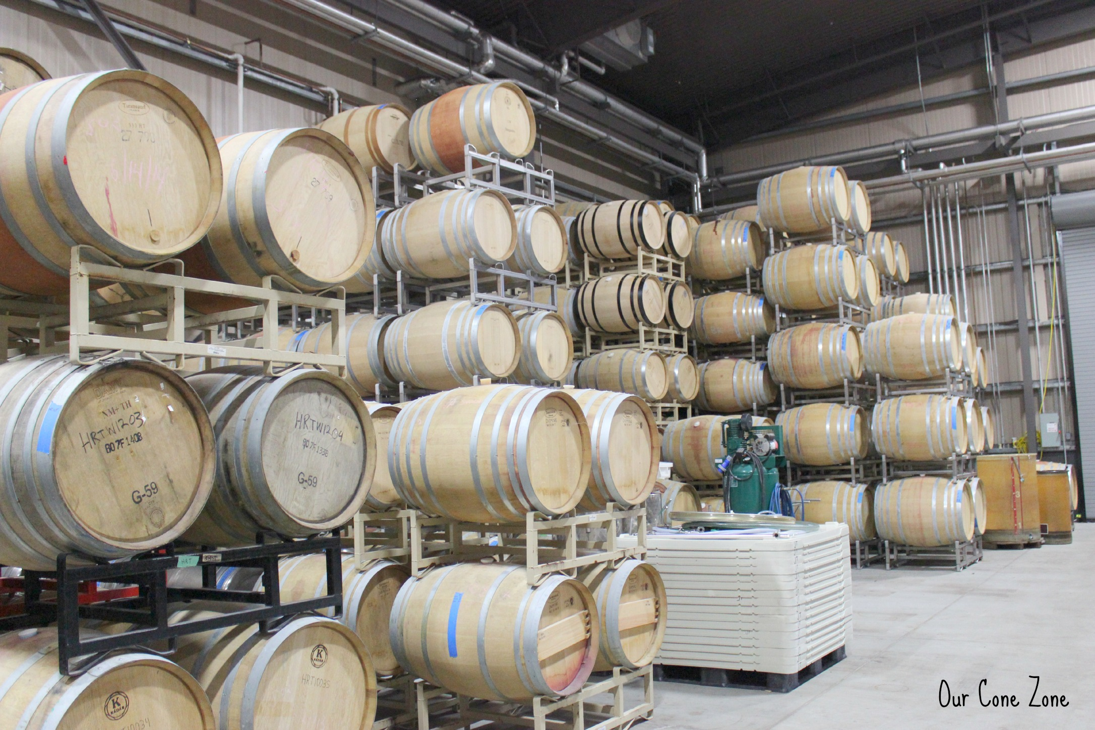 Many wine barrels