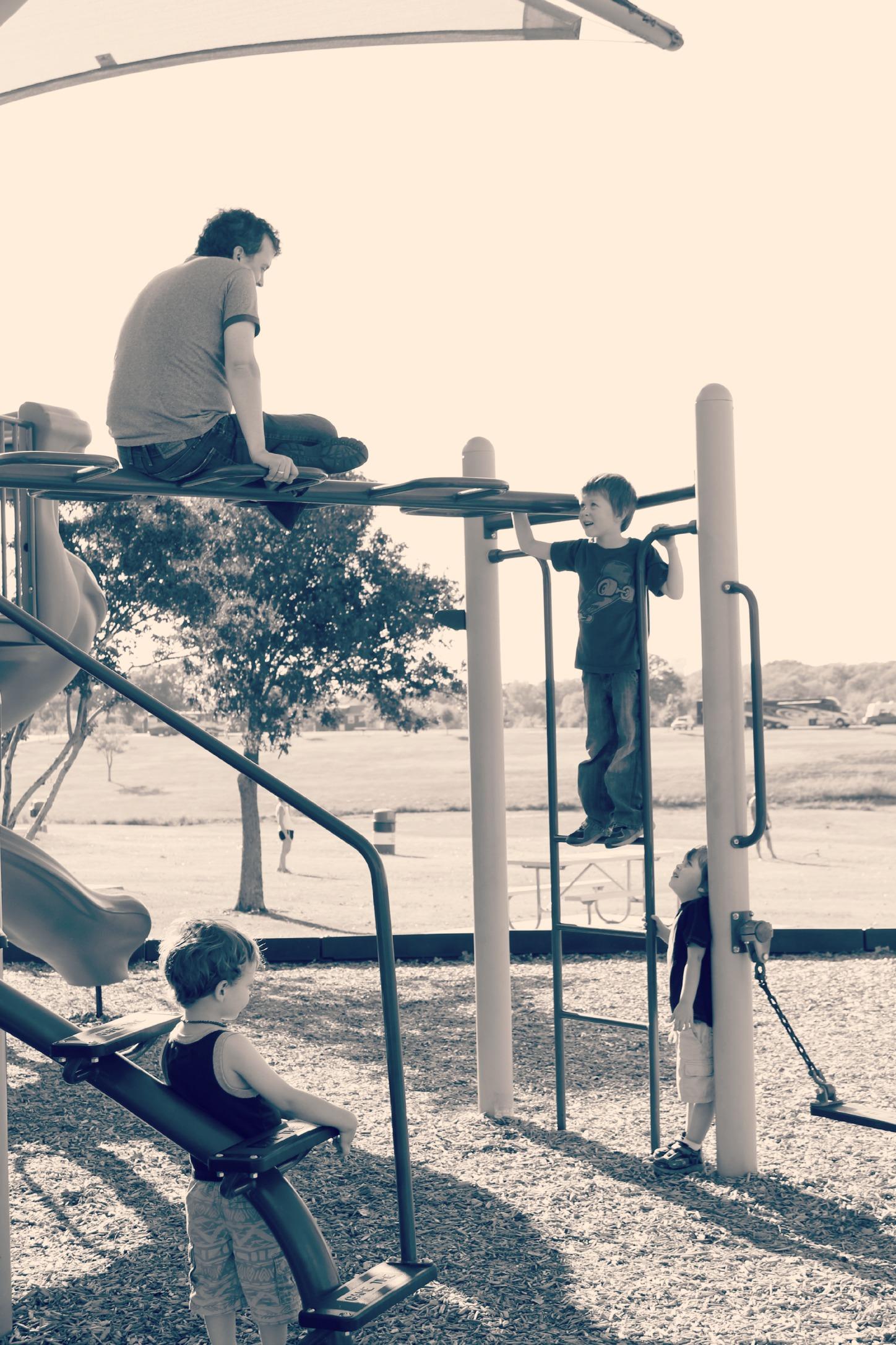 Grapveine Lake playground b and w