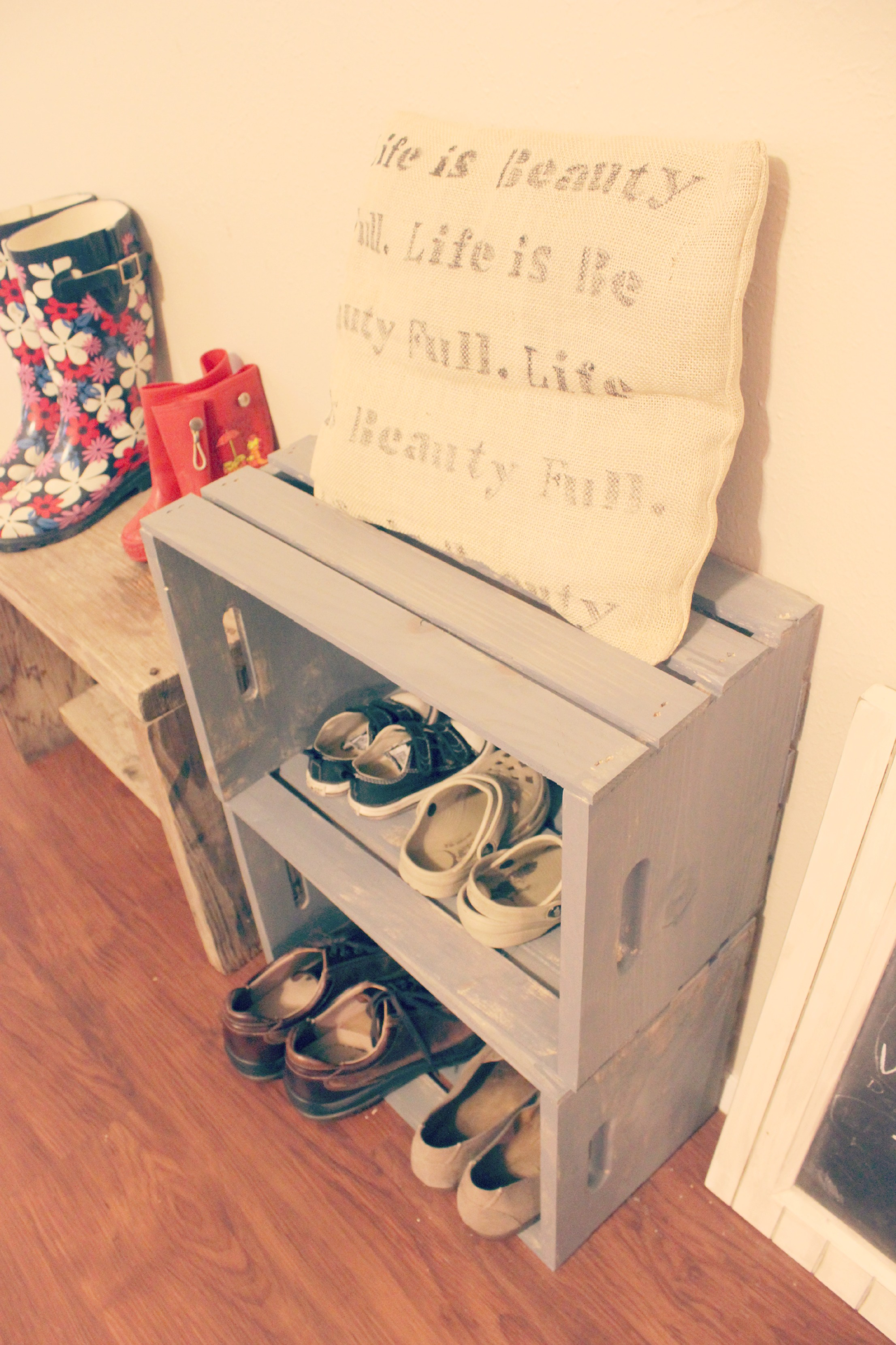 Milk crate shoe storage