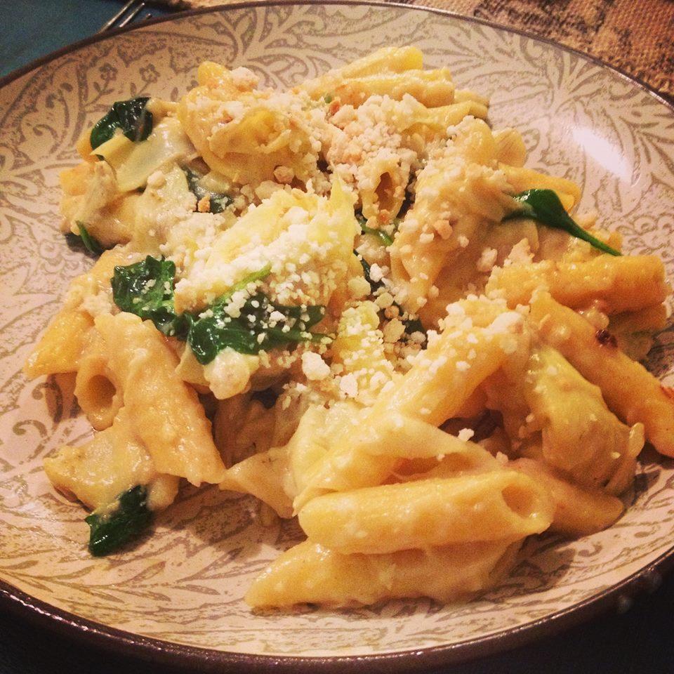 Vegan Spinach Artichoke Pasta Recipe