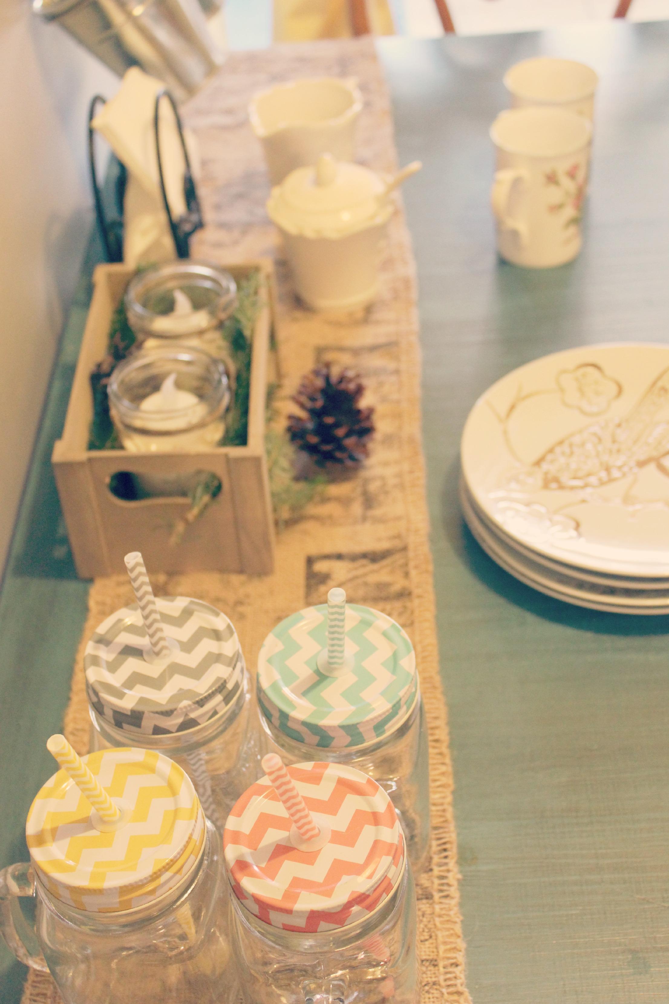 Burlap and mason jars