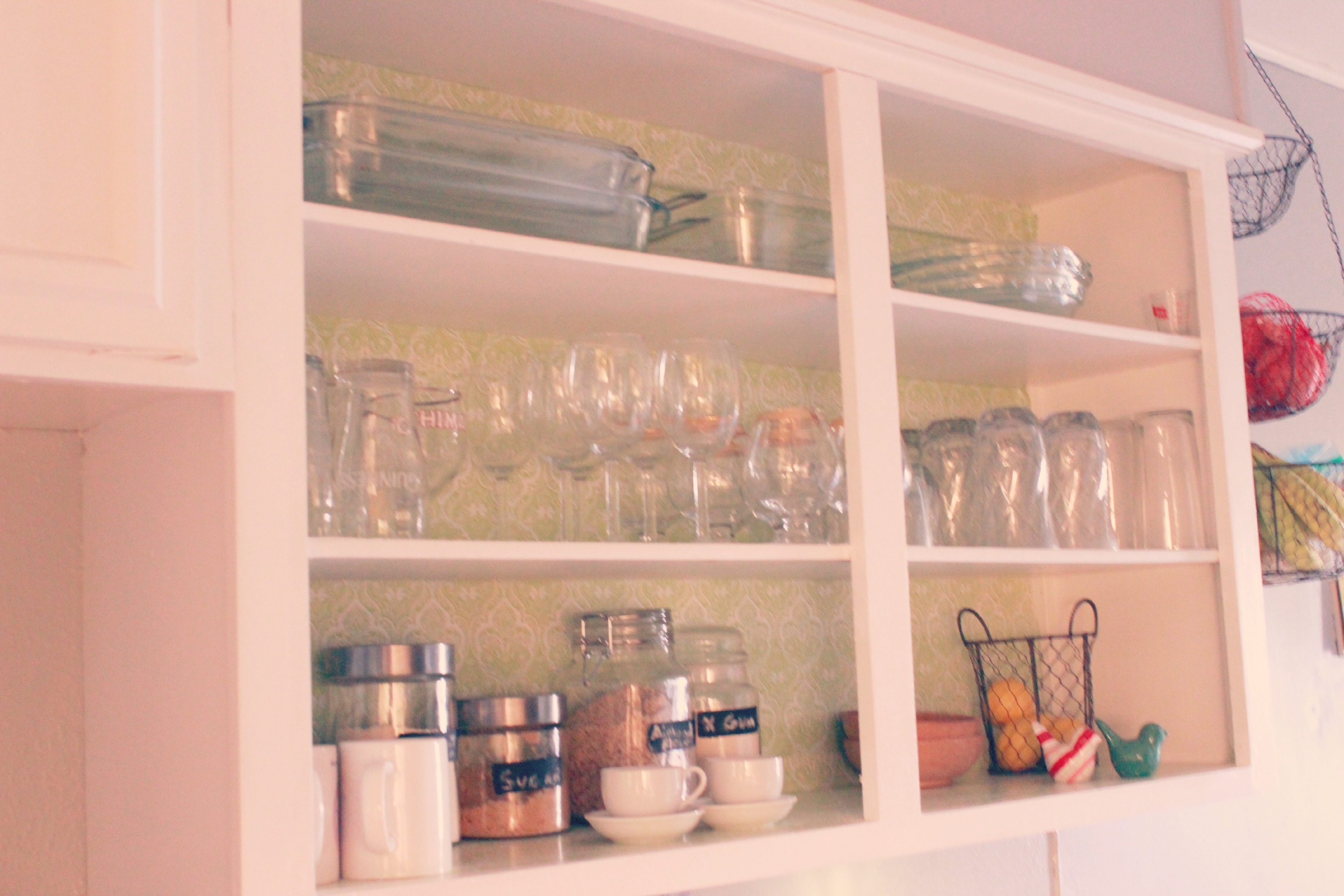 Open Shelving with contact paper