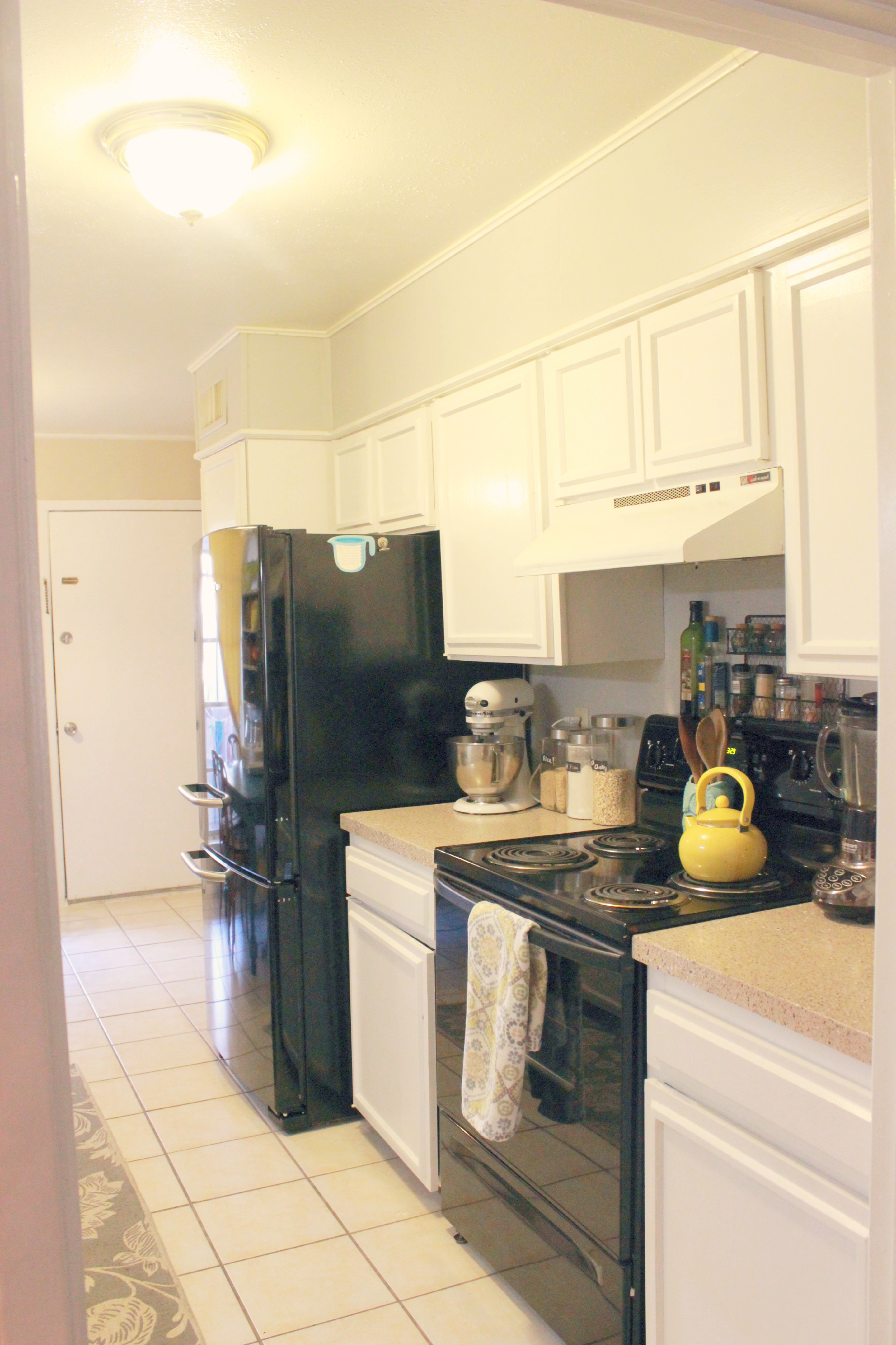 Yellow and Gray Kitchen with stove
