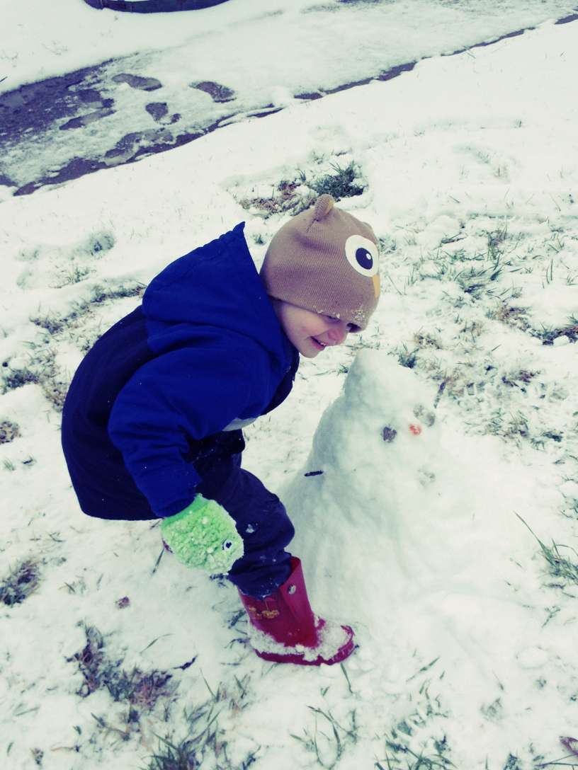 Gregory with his snowman