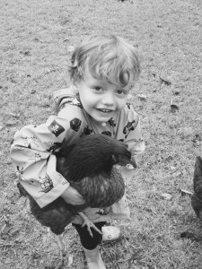 Gregory with chickens