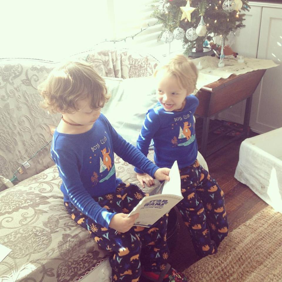 Boys Reading to each other