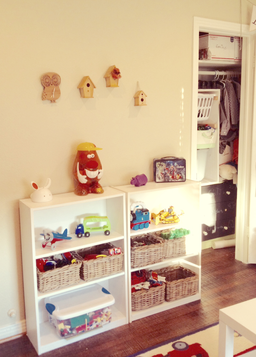 Boys Room Toy Shelves with Baskets