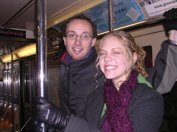 Jesse and I, riding the NYC subway on our way to a Broadway play.