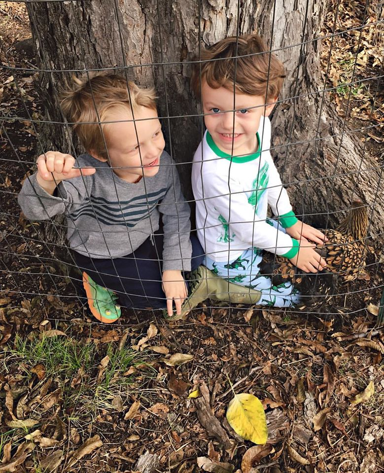 Boys playing outside
